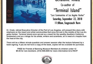 """Terminal Island – Lost Communities of Los Angeles Harbor"" presented by Geraldine Knatz – September 22"